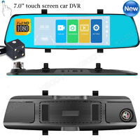 7'' Full HD 1080P Dual Lens Car DVR Rearview Mirror Camera Dash Cam G-sensor USB
