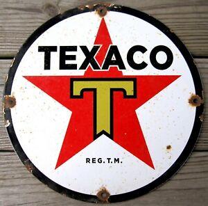 TEXACO STAR GASOLINE VINTAGE PORCELAIN ENAMEL GAS PUMP OIL SERVICE STATION SIGN