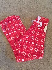 Ladies Snowflake Lounge Pants Plush Size 1X Plus Red Holiday Hearts
