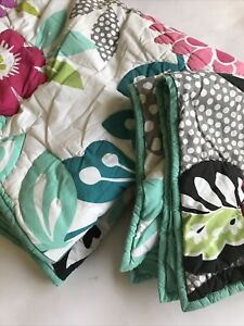POTTERY BARN Twin COMFORTER PB Teen w Sham White Black Teal Abstract Reversible