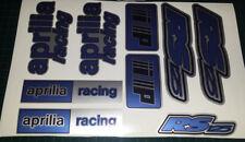 Aprilia RS125 DECALS STICKERS 3COLOUR Blue Black Silver RS 125 Racing IP 9 piece