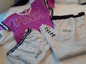 Victoria Secret Pink Retro Logo Tee & Classic Jogger & Shorts Set Small