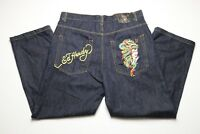 Ed Hardy Mens Blue Jeans Size 40 x 32.5 Embroidered Dragon Woman Straight Loose