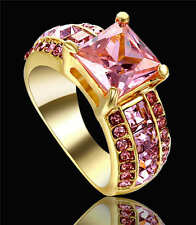 Elegant 18K Yellow Gold Filled  Rings With Solitaire CZ Pink Sapphire Size 6