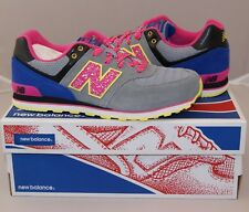 New Balance Girls 574 Classic Running Shoes Grey/Pink Grade School Sneakers NEW