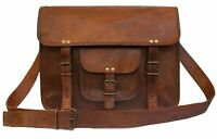 "11""Women's Messenger Handmade Briefcase Satchel Vintage Natural Leather"