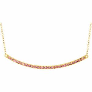 "Pink Sapphire Bar 16-18"" Necklace In 14K Yellow Gold"