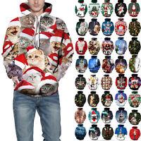 3D Xmas Hoodie Mens Women Hooded Sweatshirt Ugly Christmas Pullover Sweater Top