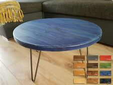Rustic  Industrial Wooden Round Side Coffee Table Metal Hairpin Legs 12 Colours