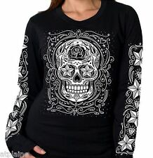 T-Shirt femme ML SUGAR SKULL - Taille M - Style BIKER HARLEY