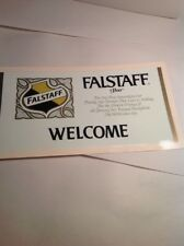 """Vintage Beer Sign FALSTAFF BEER """"Welcome"""" Sign  Transfer 10 X 5 Inches"""