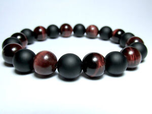 MEN'S Red Tiger's Eye Matte Black Onyx Gemstones Beaded Stretch Jewelry Bracelet