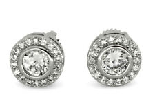 Medium Round Studs 9mm Silver Plated Cz Hip Hop Screw Back Earrings