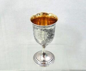 RARE AMERICAN COIN SILVER GOBLET CUP OAK LEAF original presentation letter 1862