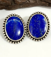 Vintage Sterling Silver Native American Earrings Lapis Lazuli Southwestern