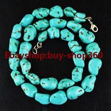 "10-12mm Turkey Turquoise Gemstone Chunk Necklace Tibetan Silver 18"""