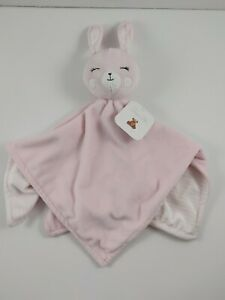 Rene Rofe Pink Sleepy Bunny Baby Security Blanket White Stripes New with Tags