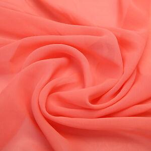 (2,90€m²) CHIFFON Stoff Apricot Delikat Durchsichtig Weich Meterware NEU