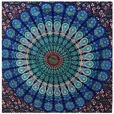 Twin Tapestry Wall Hanging Mandala Indian Cotton Bedspread Tapestries Blue