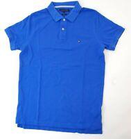 Tommy Hilfiger Slim Fit Poloshirt Polohemd Herren Gr.M blau uni Piquè -S1028