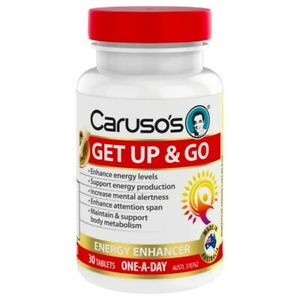 Caruso's Get Up & Go 30 Tablets Energy Levels Enhancer enXtra Galangal Green Tea