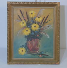Mid Century Still Life Floral Painting On Canvas Signed E.Milley