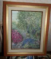 Tableau , huile sur toile ,  Le jardin , tbe