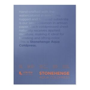 "Stonehenge Aqua Watercolor Paper 140lb Cold Press 9x12"" Block of 15 Sheets"