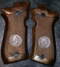 Beretta 84 cheetah pistol grips dark brown plastic w/real Indian Head pennies