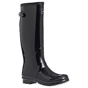 Joules Glossy Field Womens Boots Wellington - Black All Sizes