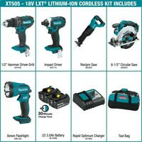 Makita Cordless Combo Kit 18-Volt LXT Lithium-Ion Batteries Charger Bag 5-Tool