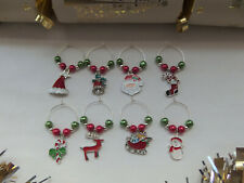 Christmas Wine Glass Charms x 8 - Secret Santa, Table Decoration, Party Gift