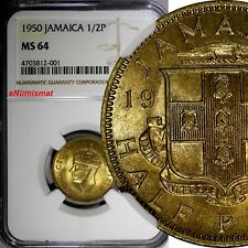 Jamaica George VI Nickel-Brass 1950 1/2 Penny NGC MS64 KM# 34