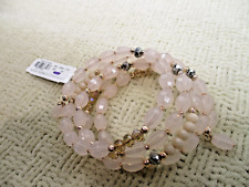NYC NEW YORK CO. PINK GLASS & LUCITE CRYSTAL WRAP BRACELET DESIGNER JEWELRY