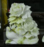 Chinese 100% Lantian Jade Stone Carving Subshrubby peony flower Tree Bird Statue