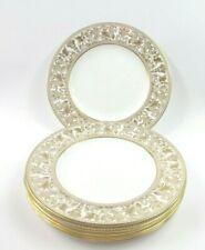 """Set of 7 Wedgwood Gold Florentine Bone China W4219 Salad Plates 8"""" England"""