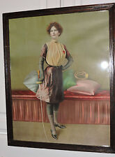 Antique VICTORIAN Redhead Woman FENCER Sword  RARE Chromo PRINT Framed c1902 ART