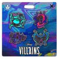 NEW 2020 Disney Parks Villains 4 Pin Set with neon accents on illustrated card.