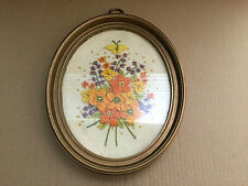 Fabric Flower Oval Wall Art 3D Picture Framed Glass Front