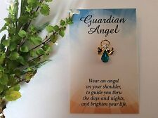Angel Lapel Pin Birthstone Message Card Stocking filler 19mm Gift Colour Options