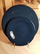 2-Pieces LS Lindt Stymeist Craftworks LAPIS BLUE/GRAY DINNER & SALAD PLATE