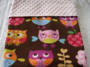 Multi-Colour Owls On Brown Fleece Pink Minky Reversible Handmade Blanket