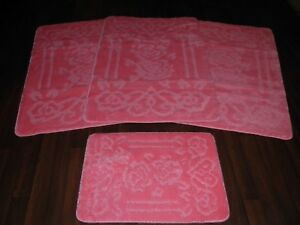 ROMANY WASHABLES GYPSY MATS THICK 4PC SET BEST AROUND NON SLIP BABY PINK HEART