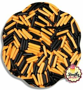 Edible Halloween Black Orange Macaroni Rods Cupcake Cake Sprinkle Decoration 50g