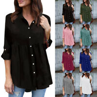 Womens Plus Size S-5XL Chiffon Solid Long Sleeve Casual OL Work Tops T Shirt