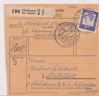 BUND, Mi. 361y EF, Paketkarte Gleidingen über Hannover 30.9.62