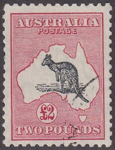 £2 Black and Rose Kangaroo. CofA Wmk. Very Fine Used. SG 138