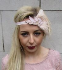 Beige Blush Light Pink Feather Headpiece 1920s Headband Flapper Gatsby Vtg 4975