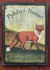 "Medium-Size Repro-Original Art - Tavern Pub Sign ""Public House"" Fox Hunt 0n Wood"