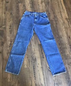 Men's WRANGLER Regular Fit Straight Leg Mid Rise Jeans 32 x 34 Medium Wash